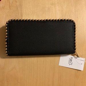 Rue21 Black Studded Zippered Wallet